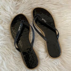 Authentic Coach Black Leather Flip Flops
